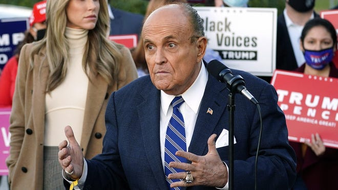 Rudy Giuliani, a lawyer for President Donald Trump, decried fictitious election irregularities at a news conference in Pennsylvania on Nov. 4, Leonard Pitts writes.