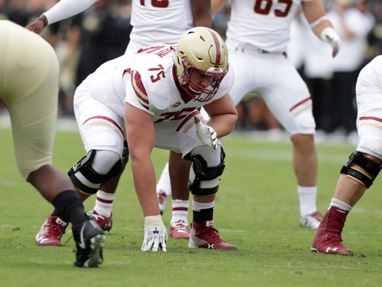Boston College offensive lineman Chris Lindstrom (75) is projected as a top-60 pick in the 2019 NFL draft.