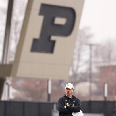 Head coach Jeff Brohm looks on during Purdue spring
