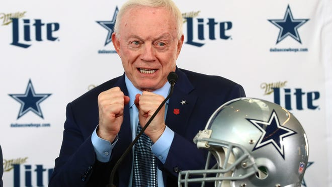 Dallas Cowboys owner Jerry Jones answers questions during a news conference at Ford Center at the Star on Jan. 8, 2020, in Frisco, Texas.