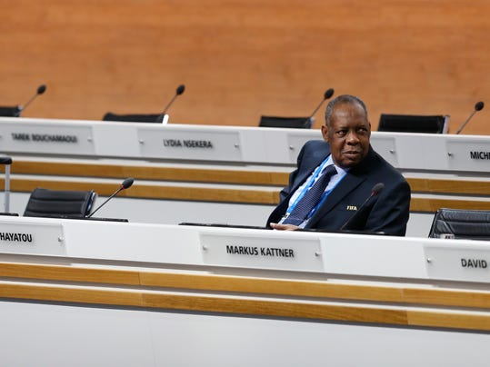 FILE - In this Friday, Feb. 26, 2016 file photo, then Acting FIFA President Issa Hayatou of Cameroon sits on the podium during the extraordinary FIFA congress in Zurich, Switzerland. Hayatou's reign could end at the Confederation of African Football's general assembly in Ethiopia on Thursday, March 16, 2017, after nearly 30 years as the head of the African soccer confederation and a top FIFA executive. (AP Photo/Michael Probst, File)