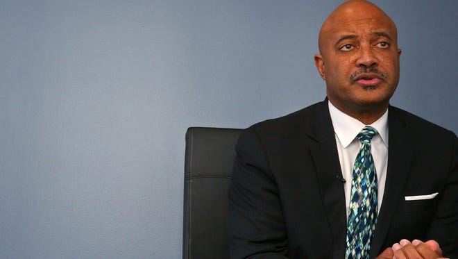 Indiana Attorney General Curtis Hill speaks about his official advisory statement that he will deem cannabidiol oil mostly illegal, Tuesday, Nov. 21, 2017.