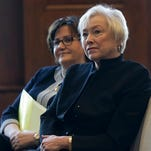 State University of New York Chancellor Nancy Zimpher, right, and State Education Commissioner MaryEllen Elia listen to a speaker during a TeachNY news conference on Wednesday, May 18, 2016, in Albany, N.Y.