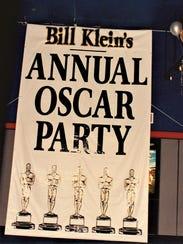 A sign shows Bill Klein's Annual Oscar Party.