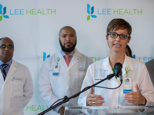 Dr. Lynsey Smith Biondi speaks during a press conference