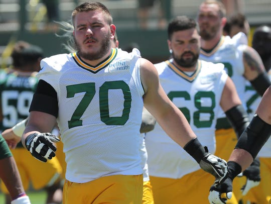 Green Bay Packers offensive guard Alex Light (70) is