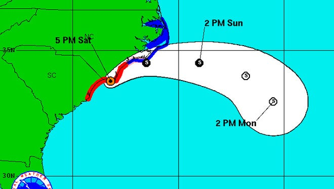 Hurricane Matthew's projected path as of 5 p.m. Saturday.