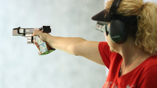 Enkelejda Shehaj of Naples (USA) during the women's 25m pistol precision qualification shooting event in the Rio 2016 Rio Olympic Games at Olympic Shooting Centre on Tuesday, Aug. 9, 2016, in Rio de Janeiro, Brazil.