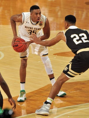 Notre Dame Fighting Irish forward Bonzie Colson drives the lane against Bryant at Purcell Pavilion at the Joyce Center.