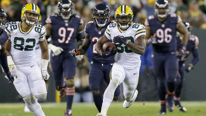 Packers receiver Ty Montgomery (88) runs for a big gain during the third quarter against the Chicago Bears on Oct. 20 at Lambeau Field.