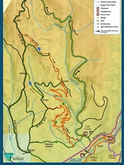 This map shows the Alsea Falls trail system.