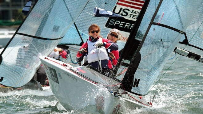 Skipper Sarah Everhart Skeels of Tiverton and teammate Cindy Walker of Middletown compete in the Clagett regatta in 2015. This year's event has been canceled.