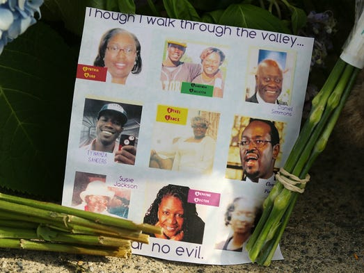 A note on the sidewalk by the Emanuel AME Church in