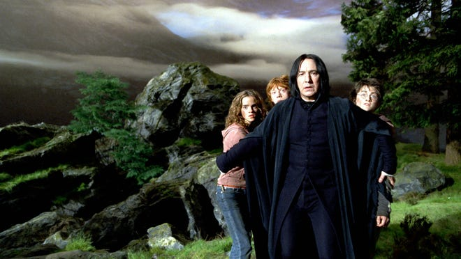 "Emma Watson, Rupert Grint, Alan Rickman and Daniel Radcliffe in a scene from the motion picture ""Harry Potter and the Prisoner of Azkaban."""