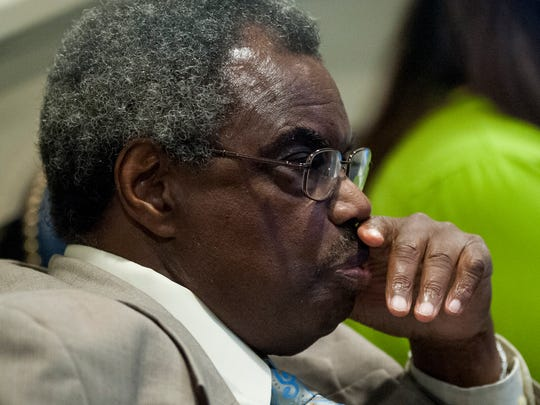 Sen. Hank Sanders during discussions on the budget