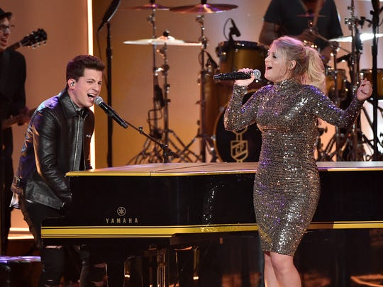 Charlie Puth and Meghan Trainor perform onstage during the 2015 American Music Awards at Microsoft Theater on November 22, 2015 in Los Angeles, California.