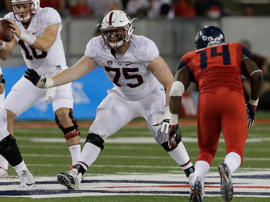 Stanford offensive tackle A.T. Hall (75) during the