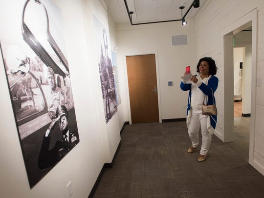 "Dana James, the daughter-in-law of Gen. Daniel ""Chappie"" James Jr., looks Thursday at the new museum dedicated to the legendary Air Force combat pilot who became the country's first African-American four-star general."