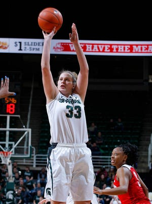 Jenna Allen (33) is averaging 10.1 points and has been a consistent performer for the Michigan State women's basketball team in recent weeks.