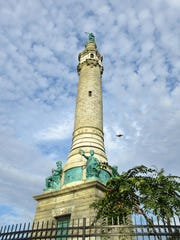 The Soldiers' and Sailors' Monument in East Rock Park, New Haven, Conn., was erected in 1887 and honors the dead from four wars. The monument near the summit of the park can be seen from all over New Haven.