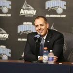 New Magic head coach Frank Vogel addresses the media at an introductory news conference Monday. Vogel, 42, spent the last five-plus seasons with the Indiana Pacers.