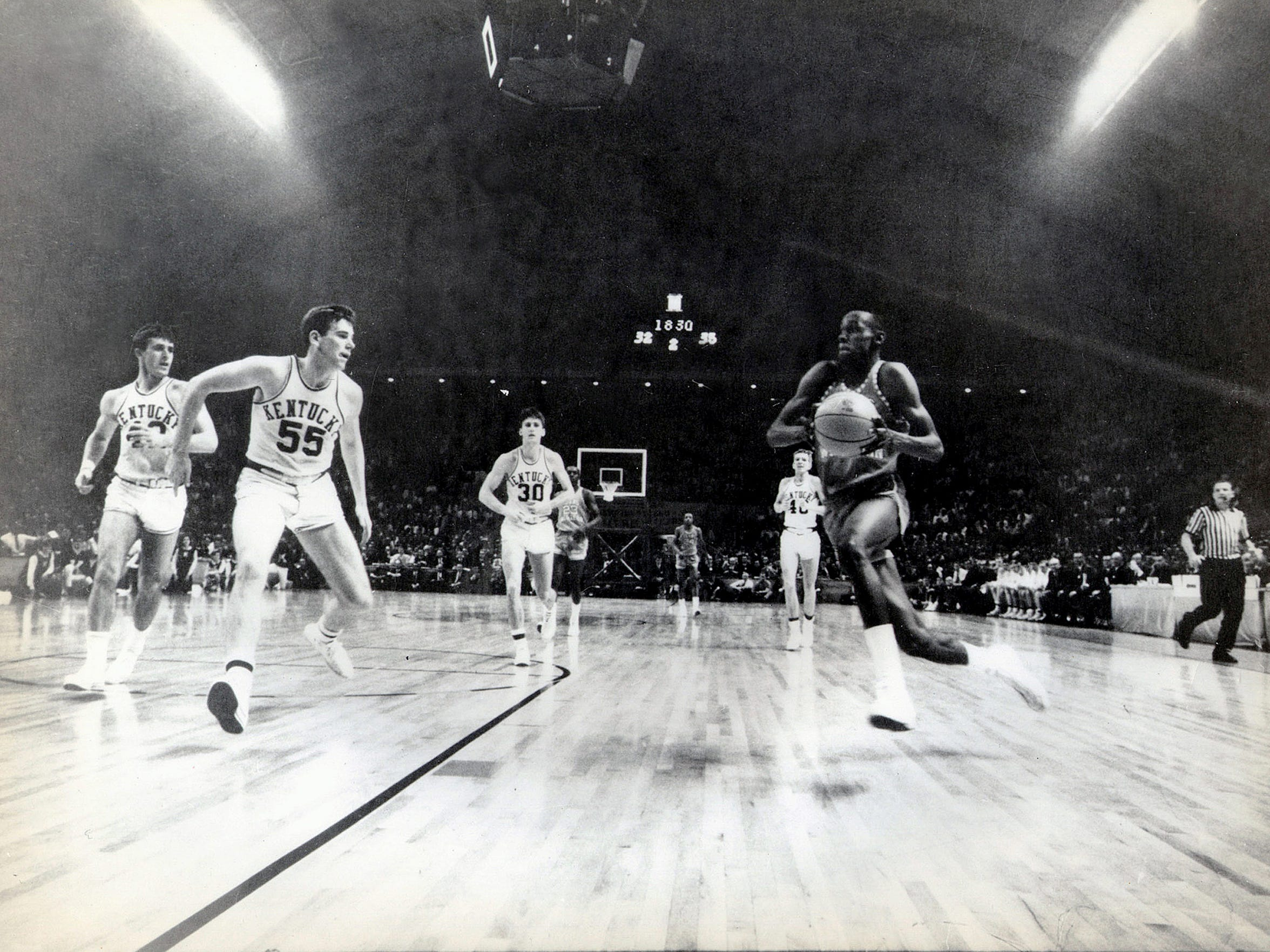 Game action during the 1966 NCAA Basketball Tournament, where TWC upset kentucky to become the only division 1 team int he state od Texas to ever win the NCAA Tournament.
