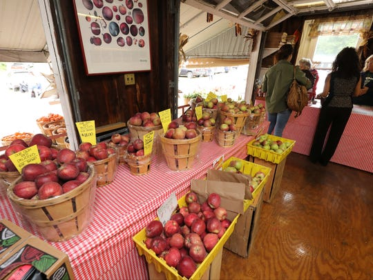 Apples for sale in the store at Dr. Davies Farm Stand