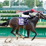 Street Story and jockey Florent Geroux won Monday's Winning Colors by 1 1/2 lengths over Heykittykittykitty at Churchill Downs.