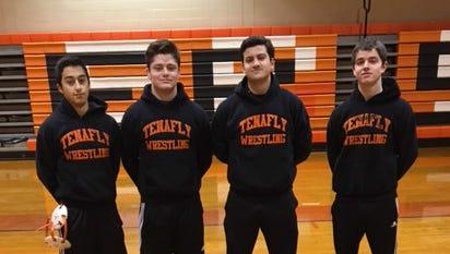 Tenafly wrestlers (from left) Alec Aljian, Ryan Welch, Jack DeSalvo, Thomas Rafferty.