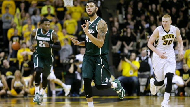 Michigan State guard Denzel Valentine reacts after making a 3-pointer during the second half of Thursday's 75-61 win at Iowa.