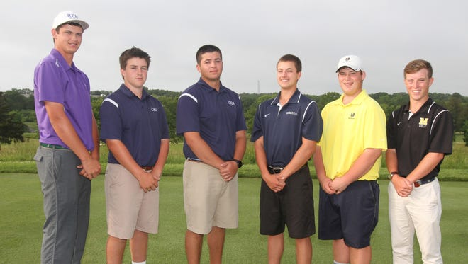 Left to right, Reid Bedell, Rumson Fair Haven, Chris Gotterup and Vince Palazzolo, Christian Brothers Academy, golfer of the year, Dawson Jones, Howell, Jackson Fiel, Southern Regional, Brendan Gutzler, Monmouth, the 2014 All-Shore boys golf team  at Jumping Brook Country Club. Tuesday June 7, 2014, Neptune. Photo by Robert Ward
