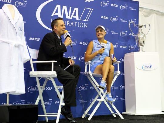 LPGA communications director Kraig Kann (left) interviews
