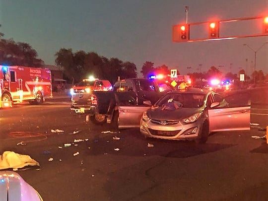 7 people were taken to a hospital, 3 in critical condition, after a crash in Goodyear Monday night.