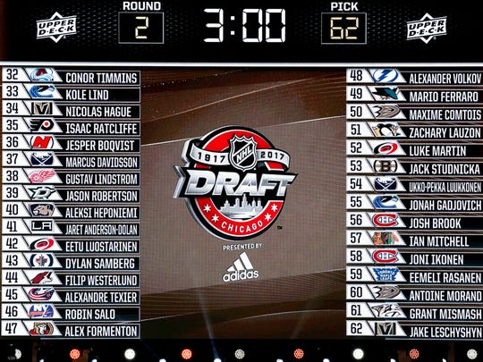 The big screen displays NHL teams second round select players name of the NHL hockey draft, Saturday, June 24, 2017, in Chicago. (AP Photo/Nam Y. Huh)