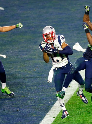 Patriots corner back Malcolm Butler intercepts a pass intended for Seahawks wide receiver Ricardo Lockette in the closing minute of Super Bowl XLIX at University of Phoenix Stadium in Glendale on Feb. 1, 2015. The Patriots won the game 28-24.