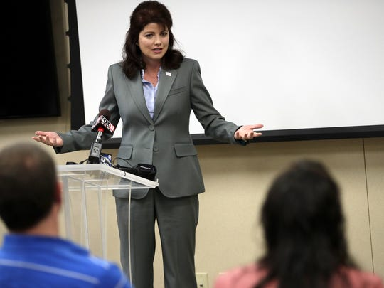Lt. Gov. Rebecca Kleefisch gives the keynote speech during the opioid addiction pilot program graduation ceremony Tuesday in Appleton.
