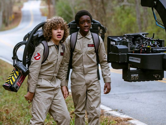 Cast members Gaten Matarazzo, left, and Caleb McLaughlin