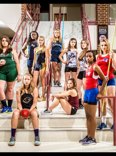 From left to right: York Tech's Lauren Corbitt, Fairfield's Morgan Jarrell, Red Lion's Madisen Kling (seated), Eastern York's Ashley Kerr, Eastern York's Maddie McLain, Dallastown's Lilly Cook, Gettysburg's Hannah Baddick (seated), South Western's Sammy Trone, South Western's Lynne Mooradian, New Oxford's Ayanna Johnson, New Oxford's Madi Smith and Spring Grove's Nathalie Elliott. Not pictured: York Tech's Kirstyn Evans.  GameTimePA's all-star girls' track and field athletes. Picture taken Tuesday, May 31, 2016, at Central York.