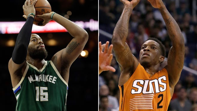 FILE - At left, in a March 6, 2017, file photo, Milwaukee Bucks' Greg Monroe (15) shoots during an NBA basketball game against the Philadelphia 76ers, in Philadelphia. At right, in a March 12, 2017, file photo, Phoenix Suns guard Eric Bledsoe (2) shoots over a Portland Trail Blazers defender during an NBA basketball game, in Phoenix. A person with knowledge of the deal says the Phoenix Suns have agreed to trade disgruntled guard Eric Bledsoe to the Milwaukee Bucks for big man Greg Monroe and two 2018 draft picks. The deal includes a protected first-round and a protected second-round draft pick, according to the person who spoke Tuesday, Nov. 7, 2017,  on condition of anonymity because the trade first reported by ESPN had not yet been finalized.(AP Photo/File)