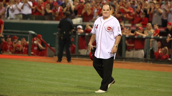 "Pete Rose is introduced in September with the ""Great Eight"" from the 1975 and 1976 World Champion Cincinnati Reds at the Great American Ball Park."
