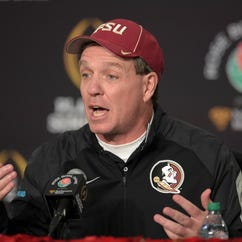 Florida State Seminoles coach Jimbo Fisher at press conference after the 2015 Rose Bowl college football game against the Oregon Ducks at Rose Bowl. Oregon defeated Florida State 59-20.