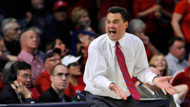 Mar 3, 2016: Arizona Wildcats head coach Sean Miller reacts on the sideline during the second half against the California Golden Bears at McKale Center. Arizona won 64-61.