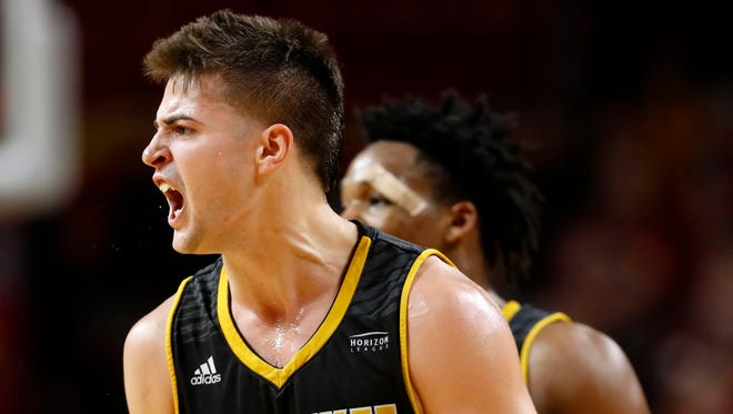 Brock Stull reacts after making a three-pointer during a game against Iowa State last November. Stull had 17 points in UWM's 66-61 victory against Wright State on Saturday.