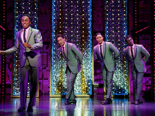 """The Drifters (Jay McKenzie, Paris Nix, Josh A. Dawson and Sidney DuPont) in """"Beautiful – the Carole King Musical."""""""