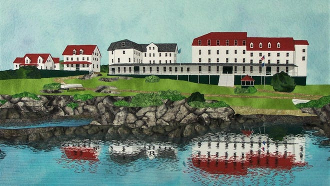 """""""Star Island,"""" fabric art by Nancy Morgan, is on display at the artist's gallery at 238 State St., Portsmouth."""