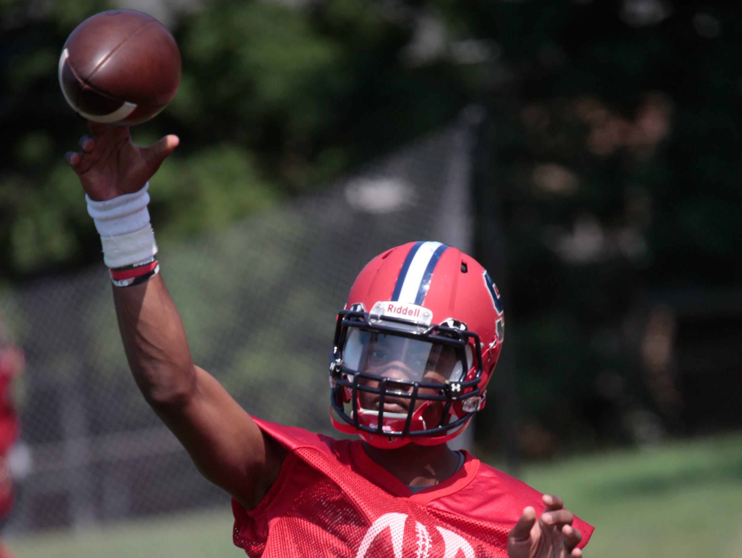 Archbishop Stepinac High School Football's QB Tyquell Fields goes through some drills during practice in White Plains on Aug. 24, 2015.
