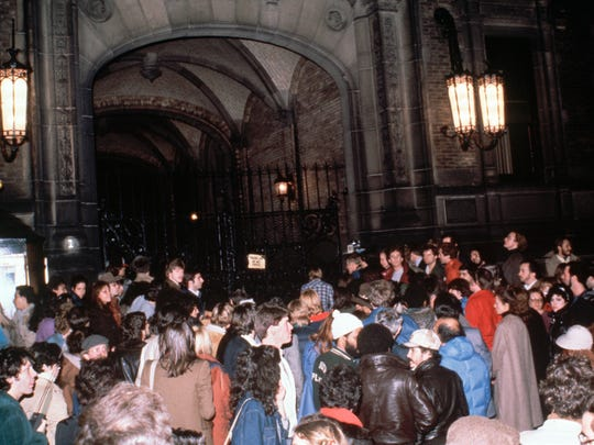 This was the scene outside the gates of the Dakota