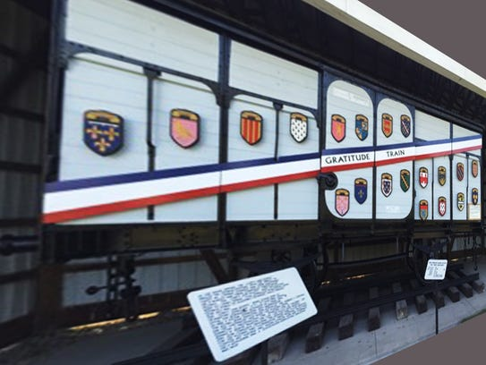 "The refurbished ""Merci Train"" boxcar, thanks to the"