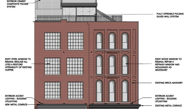 An elevation showing plans in the works to transform the building at 400 Broadway into Dierks Bentley's Whiskey Row.