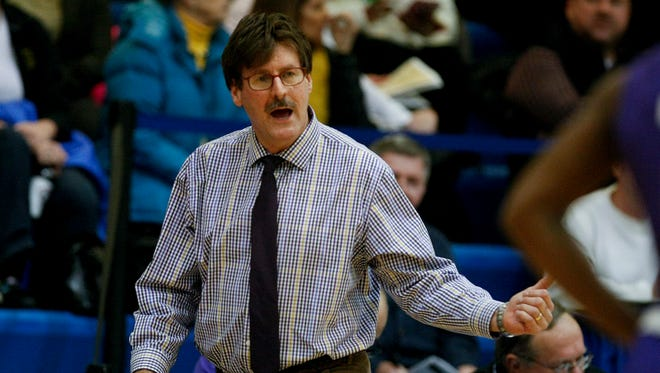 Male head coach Larry Miller in action against Ballard during the LIT tourney at Valley High School.Jan. 14, 2014